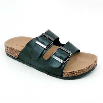 Women's Black Double Buckle Sandal