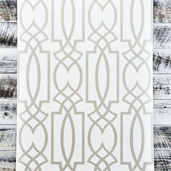 York Lattice Watercolor Geometric Grey Trellis Wallpaper
