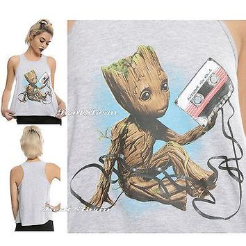 Licensed cool Marvel Guardians of the Galaxy Vol. 2 BABY GROOT MIXED TAPE Crop Tank Top JRS.