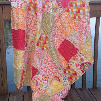 Rag Quilt Throw Picnic Beach Bukhara Modern by Delilahkaye on Etsy