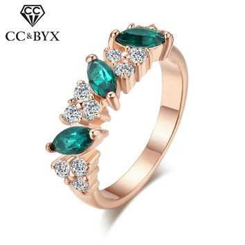 CC Vintage Rings For Women Trendy Jewelry Romantic Luxury Green Stone Ring Bridal Wedding Engagement Bijoux Femme CC1083