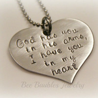 Hand Stamped Heart - Grieving - Miscarriage - Loss of pet - In Gods arms necklace