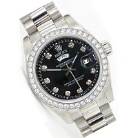 Rolex Black Dial Trending Women Men Diamond Watch Wristwatch Silver B