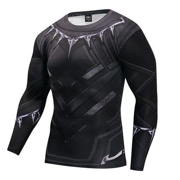 LMFLD1 Black Panther T Shirt Captain America 3 Superhero Winter Soldier 3D Printed T-shirts Fitness Men Crossfit Compression Shirt Tops