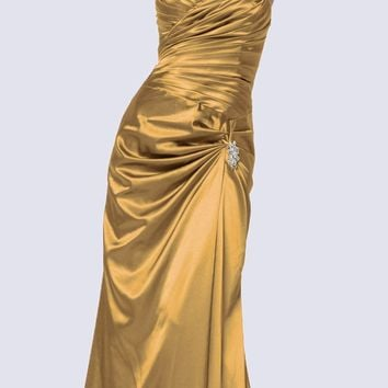 Gold Satin Prom Dress Pleated Bodice Strapless Sweetheart Neck