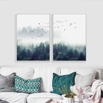 Creative Scandinavian Decorative Forest Canvas Art Print Wall Poster Wall Pictures Painting Wall Art for Bedroom Living Room Hom