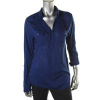 DKNY Jeans Womens Modal Adjustable Sleeves Pullover Top