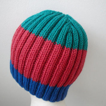 Hand Knit Beanie Hat, Blue Red Green Stripes, Boys Teens & Men, Natural Wool, Ribbed Toque Cap