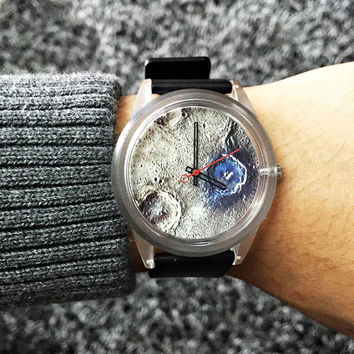 Moon Crater Watch, Watches, Mens Watch, Unique Watch, Moon Phase, Space, Women Watches, Outer Space, Gift for Him, Boyfriend Gift, Astronomy