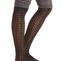Gray Combo Two-Tone Pointelle Over-the-Knee Socks by Charlotte Russe