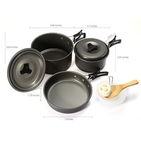 Outdoor Camping Picnic Aluminum Alloy Tableware Cookware Pots Frying Pan Bowl Set