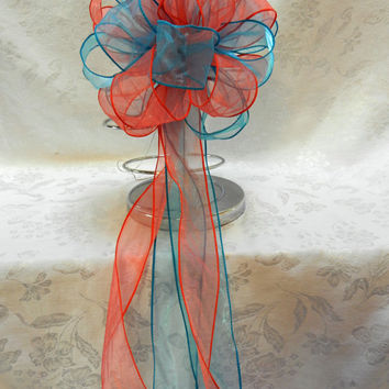 Coral and Teal Wedding/ Pew Bows set of 10
