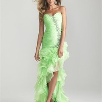 Sexy Side Split Asymmetrically Ruched Bodice Beaded Prom Dress PD2078
