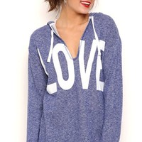 Long Sleeve V-Neck Sweatshirt with Love Screen