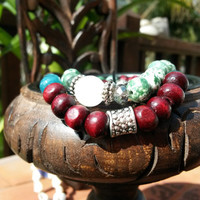 Santana's Love-Hasma Beaded Stretch Bracelet,  Yoga Stretch Bracelets,  Stack Layering Bracelet, Rich Warm Reds & Greens, Versatile Jewelry