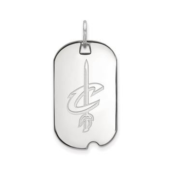 NBA Cleveland Cavs 14k White Gold Small Dog Tag Pendant