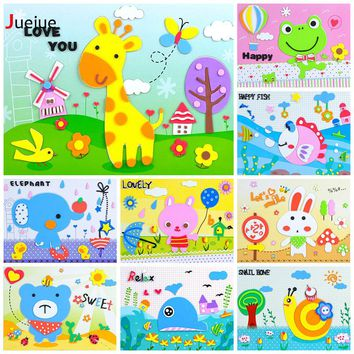 15 designs /lot DIY Cartoon Animal 3D EVA Foam Sticker Puzzle Series Early Learning Education Toys for Children