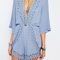 Kiss The Sky Playsuit With Plunge Neck And Lace Trim