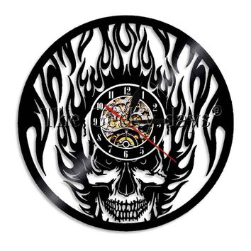 1Piece Black Fire Skull Wall Clock Vintage Vinyl Record Clock