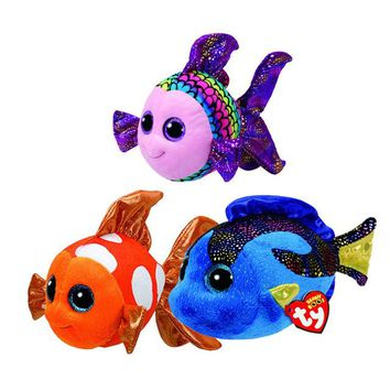 TY Beanie Boo Flippy Multicolored Aqua Blue Sami Fish Plush Stuffed Doll Toy Collectible Soft Toys Big Eyes Plush Toys