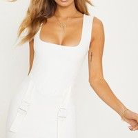 Cream Square Neck Basque Buckle Bodycon Dress