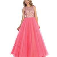 Preorder -  Coral & Nude Sheer Embellished Open Back Gown Prom 2015