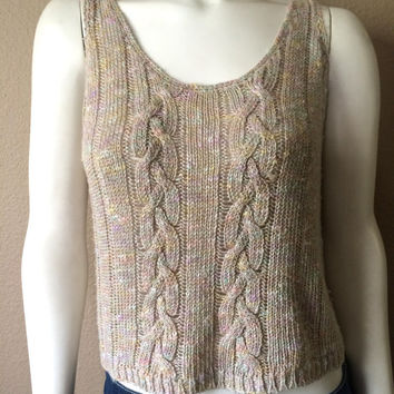 Vintage Women's 80's Knit Cropped Top, Sleeveless, Acrylic by FIA (S/M)