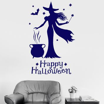 Vinyl Wall Decal Happy Halloween Witch Magic Witchcraft Stickers Unique Gift (1573ig)