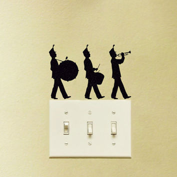 Marching Band Velvet Stickers - Three Musician Wall Decal - Drummer Laptop Stickers - Music Instruments Window Decals - Music Wall Decor