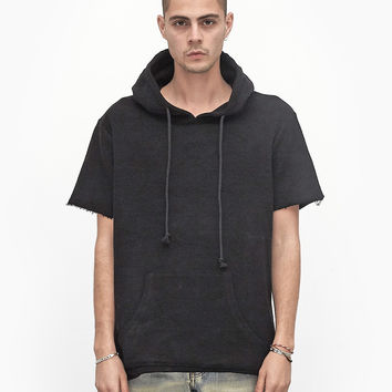 Reversed French Terry Pullover Raw-Cut Hoodie in Black
