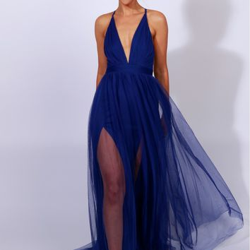 Sheer Mesh Maxi Dress Blue
