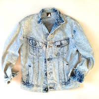 Lee Brand Acid Wash Denim Jean Jacket - 80s Acid Washed Denim - Jacket
