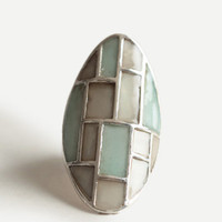 Mint Mosaic Ring - $10.00 : ThreadSence, Women's Indie & Bohemian Clothing, Dresses, & Accessories