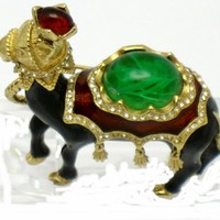 CINER Vintage Enamel Jeweled Flawed Emerald Camel Brooch Pin Mint
