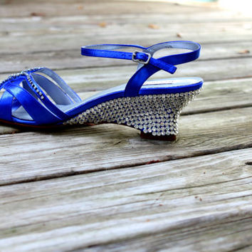 Wedding Wedges -- Blue Bridal Shoes -- Giselle