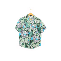 botanical print short sleeve shirt - vintage 80s / 90s - tropical - floral pattern - hawaiian parrot aloha shirt