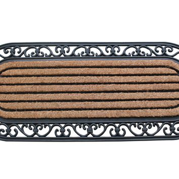 """A1HC Striped Oval Rubber and Coir Doormat, 16"""" X 48"""""""