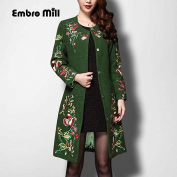 Vintage royal embroidery autumn & winter woolen coats woman Chinese style runway lady elegant plus size slim trench coat S-4XL