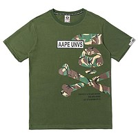 Bape Aape New fashion letter camouflage pattern print couple top t-shirt Army Green