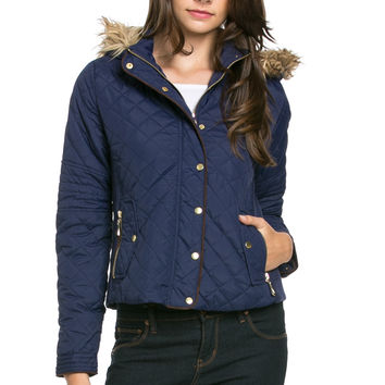 Quilted Padded Puffer Jacket with Faux Fur Hoodie Navy