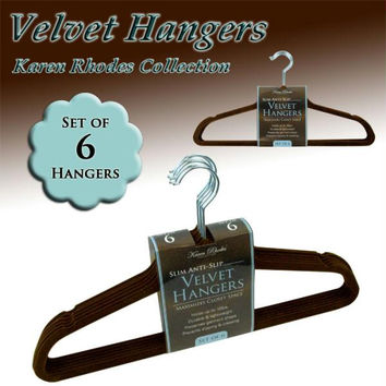 Karen Rhodes Collection  - Velvet Hangers - Chocolate Color