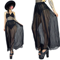vintage 90s sheer black maxi skirt high waisted vamp ultra draped paper thin skirt soft grunge vamp gothic witchy skirt small medium