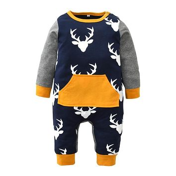 Newborn Xmas Baby Rompers Cotton Long Sleeve Deer Printing Toddler Jumpsuit Infant Christmas Clothes Baby Boys Girls Clothing