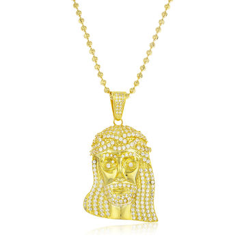 925 Sterling Goldtone Cubic Zirconia Iced Out Jesus Face Pendant with 3mm 30 Inch Moon Cut Brass Necklace