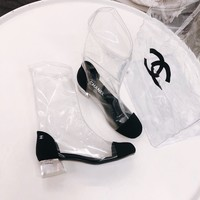 Chanel Pvc Transparent & black High Boots
