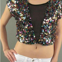 MULTICOLOURED PARTY SEQUIN MESH CROP TOP @ KiwiLook fashion