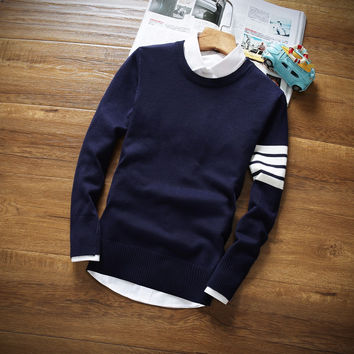 Brand Casual Sweater  men New Autumn Fashion O-Neck Slim Fit Knitting Mens Sweaters And Pullovers Men Pullover high quality