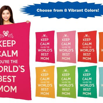 """Keep Calm You're The World's Best Mom - 40"""" x 60"""" Ivory Plush Blanket"""