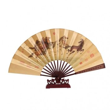 Chinese Silk Fan with stand - Horses Running