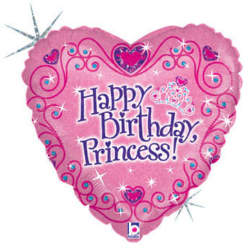 """Birthday Princess 18"""" Holographic Mylar BALLOON Heart Shaped Party Supplies Decorations Centerpiece Photo Prop Backdrop"""